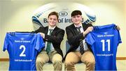 22 March 2019; In attendance during the Leinster Rugby Schools Top 15 Jersey Presentation are Andrew Sinnott, left, and Matthew Grogan of Belvedere at BOI Ballsbridge in Dublin. Photo by Sam Barnes/Sportsfile