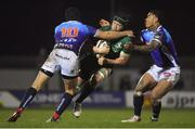 22 March 2019; Eoin McKeon of Connacht is tackled by Ian McKinley, left, and Monty Ioane of Benetton Rugby during the Guinness PRO14 Round 18 match between Connacht and Benetton Rugby at The Sportsground in Galway. Photo by Brendan Moran/Sportsfile