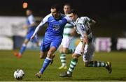 22 March 2019; Jacob Borg of Finn Harps in action against Aaron Greene of Shamrock Rovers during the SSE Airtricity League Premier Division between Finn Harps and Shamrock Rovers at Finn Park in Ballybofey, Co. Donegal. Photo by Oliver McVeigh/Sportsfile
