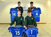 22 March 2019; In attendance during the Leinster Rugby Schools Top 15 Jersey Presentation are, from left, Jack Connolly, Conor Hennessy, Henry Godson and Jack Barry of Gonzaga at BOI Ballsbridge in Dublin. Photo by Sam Barnes/Sportsfile