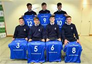 22 March 2019; In attendance during the Leinster Rugby Schools Top 15 Jersey Presentation are from left, Jack Boyle, Andrew Smith, John Fish, Rob Gilsenan, Mark Hernan, Chris Cosgrove and Will Hickey of St Michael's at BOI Ballsbridge in Dublin. Photo by Sam Barnes/Sportsfile