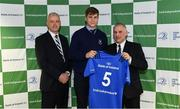 22 March 2019; John Fish of St Michael's is presented with their jersey by Vinne Milroy, Bank of Ireland, left, and Tony Ward, Irish Independent, during the Leinster Rugby Schools Top 15 Jersey Presentation at BOI Ballsbridge in Dublin. Photo by Sam Barnes/Sportsfile