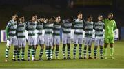 22 March 2019; Shamrock Rovers players stand for a minute's silence before the SSE Airtricity League Premier Division between Finn Harps and Shamrock Rovers at Finn Park in Ballybofey, Co. Donegal. Photo by Oliver McVeigh/Sportsfile