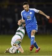 22 March 2019; Nathan Boyle of Finn Harps in action against Greg Bolger of Shamrock Rovers during the SSE Airtricity League Premier Division between Finn Harps and Shamrock Rovers at Finn Park in Ballybofey, Co. Donegal. Photo by Oliver McVeigh/Sportsfile