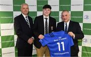22 March 2019; Matthew Grogan of Belvedere is presented with their jersey by Vinne Milroy, Bank of Ireland, left, and Tony Ward, Irish Independent, during the Leinster Rugby Schools Top 15 Jersey Presentation at BOI Ballsbridge in Dublin. Photo by Sam Barnes/Sportsfile