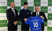 22 March 2019; Chris Cosgrove of St Michael's is presented with their jersey by Vinne Milroy, Bank of Ireland, left, and Tony Ward, Irish Independent, during the Leinster Rugby Schools Top 15 Jersey Presentation at BOI Ballsbridge in Dublin. Photo by Sam Barnes/Sportsfile