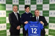 22 March 2019; Andrew Smith of St Michael's is presented with their jersey by Vinne Milroy, Bank of Ireland, left, and Tony Ward, Irish Independent, during the Leinster Rugby Schools Top 15 Jersey Presentation at BOI Ballsbridge in Dublin. Photo by Sam Barnes/Sportsfile