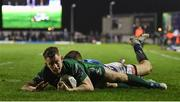 22 March 2019; Matt Healy of Connacht goes over to score his side's third try during the Guinness PRO14 Round 18 match between Connacht and Benetton Rugby at The Sportsground in Galway. Photo by Brendan Moran/Sportsfile