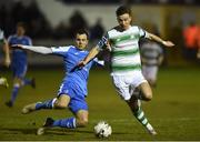 22 March 2019; Ronan Finn of Shamrock Rovers in action against Jacob Borg of Finn Harps during the SSE Airtricity League Premier Division between Finn Harps and Shamrock Rovers at Finn Park in Ballybofey, Co. Donegal. Photo by Oliver McVeigh/Sportsfile