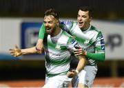 22 March 2019; Greg Bolger, left, of Shamrock Rovers celebrates with team-mate Sean Kavanagh after scoring his side's first goal during the SSE Airtricity League Premier Division between Finn Harps and Shamrock Rovers at Finn Park in Ballybofey, Co. Donegal. Photo by Oliver McVeigh/Sportsfile