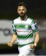 22 March 2019; Greg Bolger of Shamrock Rovers celebrates after scoring his side's first goal during the SSE Airtricity League Premier Division between Finn Harps and Shamrock Rovers at Finn Park in Ballybofey, Co. Donegal. Photo by Oliver McVeigh/Sportsfile