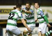22 March 2019; Greg Bolger, centre, of Shamrock Rovers celebrates with team-mate Aaron Greene after scoring his side's first goal during the SSE Airtricity League Premier Division between Finn Harps and Shamrock Rovers at Finn Park in Ballybofey, Co. Donegal. Photo by Oliver McVeigh/Sportsfile