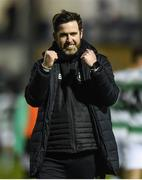 22 March 2019; Shamrock Rovers manager Stephen Bradley celebrates after the SSE Airtricity League Premier Division between Finn Harps and Shamrock Rovers at Finn Park in Ballybofey, Co. Donegal. Photo by Oliver McVeigh/Sportsfile