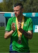 20 March 2019; Team Ireland's Wayne O'Callaghan, a member of the Ballincollig SO Club, from Vicarstown, Co. Cork, after the presentation to Team Ireland seven a-side squad who collected their Bronze Medals on Day Six of the 2019 Special Olympics World Games in Zayed Sports City, Airport Road, Abu Dhabi, United Arab Emirates. Photo by Ray McManus/Sportsfile
