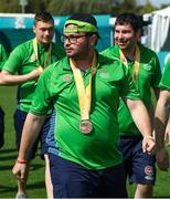 20 March 2019; Team Ireland's Omer Teko, a member of United Warriors Special Olympics Club, from Dublin 12, Co. Dublin, after the presentation to Team Ireland seven a-side squad who collected their Bronze Medals on Day Six of the 2019 Special Olympics World Games in Zayed Sports City, Airport Road, Abu Dhabi, United Arab Emirates. Photo by Ray McManus/Sportsfile