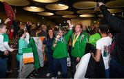 22 March 2019; Team Ireland's Francis Power, a member of the Navan Arch Club, from Navan, Co. Meath, and, right, Team Ireland's Thomas O'Herlihy, a member of COPE Foundation, from Co. Cork, on their return from the 2019 World Summer Games Abu Dhabi at Dublin Airport in Dublin Photo by Ray McManus/Sportsfile
