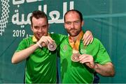 20 March 2019; Team Ireland's David Dunlea, left, a member of COPE Foundation, from Douglas, Co. Cork, and Team Ireland's Thomas O'Herlihy, a member of COPE Foundation, from Co. Cork, after the presentation to Team Ireland seven a-side squad who collected their Bronze Medals on Day Six of the 2019 Special Olympics World Games in Zayed Sports City, Airport Road, Abu Dhabi, United Arab Emirates. Photo by Ray McManus/Sportsfile