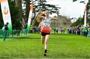 23 March 2019; Holly Weedall of Weaverham High School, Cheshire, England, crosses the line to win the Junior Girls event during the SIAB Schools Cross Country International at Santry Demense in Santry, Dublin. Photo by Sam Barnes/Sportsfile