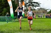 23 March 2019; Katie Johnson of Preston Lodge High School, Prestonpans, Scotland, left, and Scarlett Livingstone of Colyton Grammar School, Devon, England, competing in the Junior Girls event during the SIAB Schools Cross Country International at Santry Demense in Santry, Dublin. Photo by Sam Barnes/Sportsfile