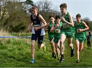 23 March 2019; Athletes, from left, Reuben Macdonald of Hillpark Secondary, Glasgow ,Scotland, Diarmuid Fagan of Cholaiste Mhuire Mullingar, Co.Westmeath, Ireland, Niall Murphy of St.Flannan's College, Co.Clare, Ireland, Nicholas Griggs of Cookstown High School, Co.Tyrone, Ireland, and Tom Lodge of St Kieran's Kilkenny, Co.Kilkenny, Ireland, competing in the Junior Boys event during the SIAB Schools Cross Country International at Santry Demense in Santry, Dublin. Photo by Sam Barnes/Sportsfile