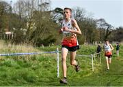 23 March 2019; Joshua Blevins of Marden High School, Northumberland, England, competing in the Junior Boys event during the SIAB Schools Cross Country International at Santry Demense in Santry, Dublin. Photo by Sam Barnes/Sportsfile
