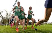 23 March 2019; Cara Laverty of Thornhill College, Co. Derry, Ireland, Roisin O'Reilly of Loreto Wexford, Co. Wexford, Ireland, and Hannah O'Keeffe of Loreto Kilkenny, Co. Kilkenny, Ireland competing in the Inter Girls event during the SIAB Schools Cross Country International at Santry Demense in Santry, Dublin. Photo by Sam Barnes/Sportsfile