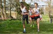 23 March 2019; Mohamed Ali of Dormers Wells High School, Middlesex, England, left, on his way to winning the Inter Boys event ahead of Will Barnicoat of Cranleigh School, Surrey, England,  during the SIAB Schools Cross Country International at Santry Demense in Santry, Dublin. Photo by Sam Barnes/Sportsfile