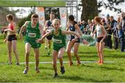 23 March 2019; Matthew Lavery of St Malachys College, Co.Antrim, Ireland, passes over to Emma Landers of Pobalscoil Ns Trionoide, Co.Cork, Ireland, whilst competing in the mixed relay event during the SIAB Schools Cross Country International at Santry Demense in Santry, Dublin. Photo by Sam Barnes/Sportsfile