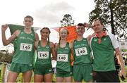 23 March 2019; Mixed relay silver medallists, from left, Fiontann Campbell of St Malachys College, Co.Antrim, Ireland, Ava O'Connor of Scoil Chriost Ri Portloaise, Co.Laois, Ireland, Emma Landers of Pobalscoil Ns Trionoide, Co.Cork, Ireland, and Matthew Lavery of St Malachys College, Co.Antrim, Ireland, with team manager Fintan Reilly during the SIAB Schools Cross Country International at Santry Demense in Santry, Dublin. Photo by Sam Barnes/Sportsfile