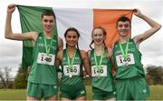23 March 2019; Mixed relay silver medallists, from left, Fiontann Campbell of St Malachys College, Co.Antrim, Ireland, Ava O'Connor of Scoil Chriost Ri Portloaise, Co.Laois, Ireland, Emma Landers of Pobalscoil Ns Trionoide, Co.Cork, Ireland, and Matthew Lavery of St Malachys College, Co.Antrim, Ireland, during the SIAB Schools Cross Country International at Santry Demense in Santry, Dublin. Photo by Sam Barnes/Sportsfile