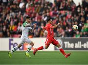 23 March 2019; John Sergeant of Gibraltar in action against Sean Maguire of Republic of Ireland during the UEFA EURO2020 Qualifier Group D match between Gibraltar and Republic of Ireland at Victoria Stadium in Gibraltar. Photo by Seb Daly/Sportsfile