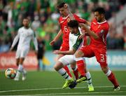 23 March 2019; Seán Maguire of Republic of Ireland in action against Louie Annesley, left, and Jospeh Chipolina of Gibraltar during the UEFA EURO2020 Qualifier Group D match between Gibraltar and Republic of Ireland at Victoria Stadium in Gibraltar. Photo by Seb Daly/Sportsfile
