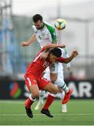 23 March 2019; Shane Duffy of Republic of Ireland in action against Tjay De Barr of Gibraltar during the UEFA EURO2020 Qualifier Group D match between Gibraltar and Republic of Ireland at Victoria Stadium in Gibraltar. Photo by Seb Daly/Sportsfile