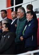 23 March 2019; John Delaney, CEO, Football Association of Ireland, left, and FAI president Donal Conway during the UEFA EURO2020 Qualifier Group D match between Gibraltar and Republic of Ireland at Victoria Stadium in Gibraltar. Photo by Seb Daly/Sportsfile