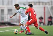 23 March 2019; Jeff Hendrick of Republic of Ireland in action against Anthony Bardon of Gibraltar during the UEFA EURO2020 Qualifier Group D match between Gibraltar and Republic of Ireland at Victoria Stadium in Gibraltar. Photo by Seb Daly/Sportsfile