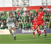 23 March 2019; James McClean of Republic of Ireland in action against Anthony Hernandez of Gibraltar during the UEFA EURO2020 Qualifier Group D match between Gibraltar and Republic of Ireland at Victoria Stadium in Gibraltar. Photo by Seb Daly/Sportsfile