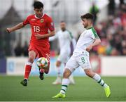 23 March 2019; Anthony Hernandez of Gibraltar in action against Seán Maguire of Republic of Ireland during the UEFA EURO2020 Qualifier Group D match between Gibraltar and Republic of Ireland at Victoria Stadium in Gibraltar. Photo by Seb Daly/Sportsfile