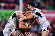 23 March 2019; Ruan Lerm of Isuzu Southern Kings is tackled by Nick Timoney, left, and Billy Burns of Ulster during the Guinness PRO14 Round 18 match between Ulster and Isuzu Southern Kings at the Kingspan Stadium in Belfast. Photo by Ramsey Cardy/Sportsfile