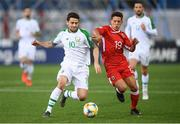 23 March 2019; Robbie Brady of Republic of Ireland in action against Tjay De Barr of Gibraltar during the UEFA EURO2020 Qualifier Group D match between Gibraltar and Republic of Ireland at Victoria Stadium in Gibraltar. Photo by Stephen McCarthy/Sportsfile
