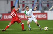 23 March 2019; Seamus Coleman of Republic of Ireland in action against Tjay De Barr of Gibraltar during the UEFA EURO2020 Qualifier Group D match between Gibraltar and Republic of Ireland at Victoria Stadium in Gibraltar. Photo by Stephen McCarthy/Sportsfile