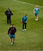 23 March 2019; Jack O'Donoghue, JJ Hanrahan, and Jeremy Loughman of Munster arrive prior to the Guinness PRO14 Round 18 match between Munster and Zebre at Thomond Park in Limerick. Photo by Diarmuid Greene/Sportsfile