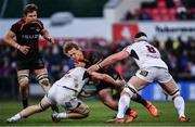 23 March 2019; Tertius Kruger of Isuzu Southern Kings is tackled by Nick Timoney, left,and Marcell Coetzee of Ulster during the Guinness PRO14 Round 18 match between Ulster and Isuzu Southern Kings at the Kingspan Stadium in Belfast. Photo by Ramsey Cardy/Sportsfile