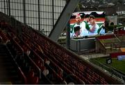 23 March 2019; A big screen displays the UEFA EURO2020 Qualifier Group D match between Gibraltar and Republic of Ireland as Jeff Hendrick of Republic of Ireland celebrates with team-mates after scoring his side's first goal, prior to the Guinness PRO14 Round 18 match between Munster and Zebre at Thomond Park in Limerick. Photo by Diarmuid Greene/Sportsfile