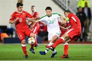 23 March 2019; Harry Arter of Republic of Ireland in action against Anthony Bardon, left, and Roy Chipolina of Gibraltar during the UEFA EURO2020 Qualifier Group D match between Gibraltar and Republic of Ireland at Victoria Stadium in Gibraltar. Photo by Stephen McCarthy/Sportsfile
