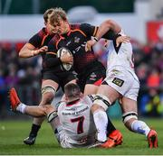 23 March 2019; Tertius Kruger of Isuzu Southern Kings is tackled by Nick Timoney, left, and Marcell Coetzee of Ulster during the Guinness PRO14 Round 18 match between Ulster and Isuzu Southern Kings at the Kingspan Stadium in Belfast. Photo by Ramsey Cardy/Sportsfile