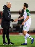 23 March 2019; Republic of Ireland manager Mick McCarthy with Harry Arter of Republic of Ireland following following the UEFA EURO2020 Qualifier Group D match between Gibraltar and Republic of Ireland at Victoria Stadium in Gibraltar. Photo by Stephen McCarthy/Sportsfile