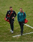 23 March 2019; CJ Stander and Arno Botha of Munster arrive prior to the Guinness PRO14 Round 18 match between Munster and Zebre at Thomond Park in Limerick. Photo by Diarmuid Greene/Sportsfile
