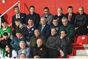 23 March 2019; FAI Chief Executive John Delaney and FAI President Donal Conway watch on during the UEFA EURO2020 Qualifier Group D match between Gibraltar and Republic of Ireland at Victoria Stadium in Gibraltar. Photo by Stephen McCarthy/Sportsfile