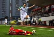 23 March 2019; Harry Arter of Republic of Ireland in action against Jospeh Chipolina of Gibraltar during the UEFA EURO2020 Qualifier Group D match between Gibraltar and Republic of Ireland at Victoria Stadium in Gibraltar. Photo by Seb Daly/Sportsfile