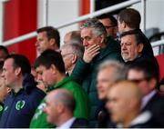 23 March 2019; FAI Chief Executive John Delaney and FAI President Donal Conway during the UEFA EURO2020 Qualifier Group D match between Gibraltar and Republic of Ireland at Victoria Stadium in Gibraltar. Photo by Seb Daly/Sportsfile